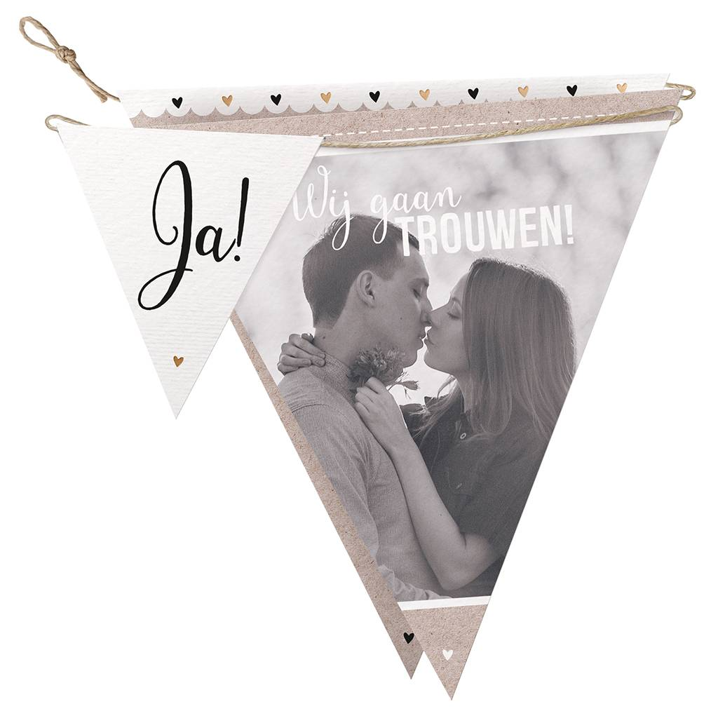 Belarto Bohemian Wedding Trouwkaart in vorm van een slinger met gouddetails (727016)