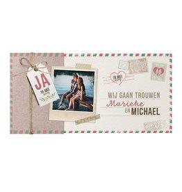 Belarto Bohemian Wedding Trouwkaart met uitschuif in hoesje en polaroidfoto
