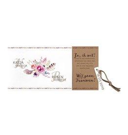 Belarto Bohemian Wedding Trouwkaart als uittrekkaart met bloemen en touw