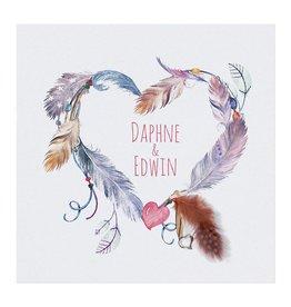 Belarto Bohemian Wedding Trouwkaart in 'Bohemian Style' met echt veertje en bedeltje