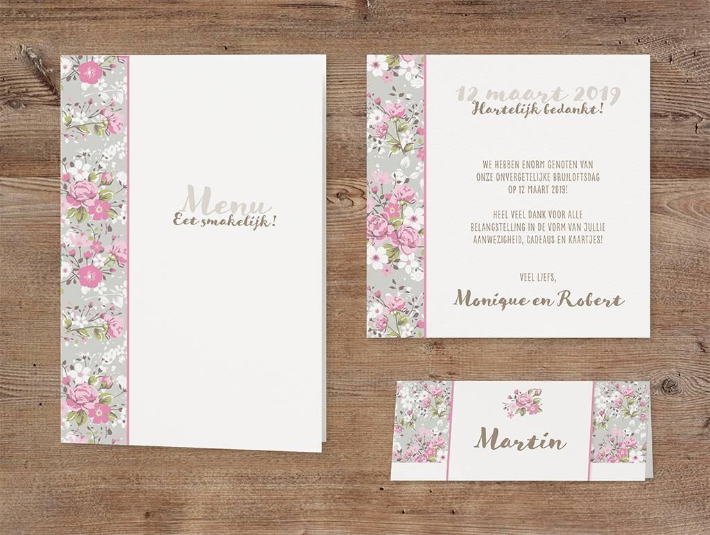 Belarto Bohemian Wedding Trouwkaart met bloemen en wikkel met lintje (727010)