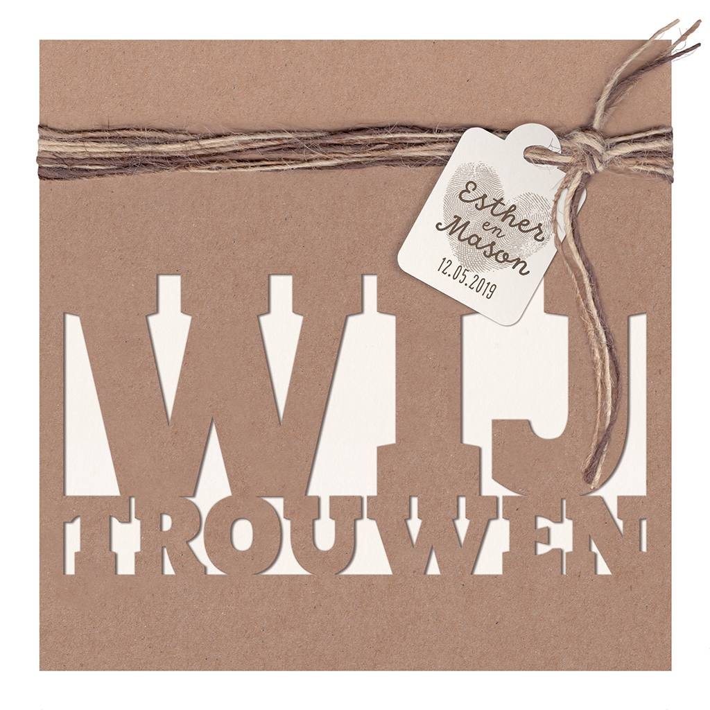 Belarto Bohemian Wedding Trouwkaart met kraft-jasje en label en touw (727007)