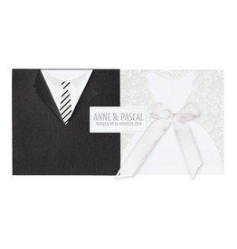 Belarto Bohemian Wedding Trouwkaart uitschuifbaar met jurk & pak en bling bling