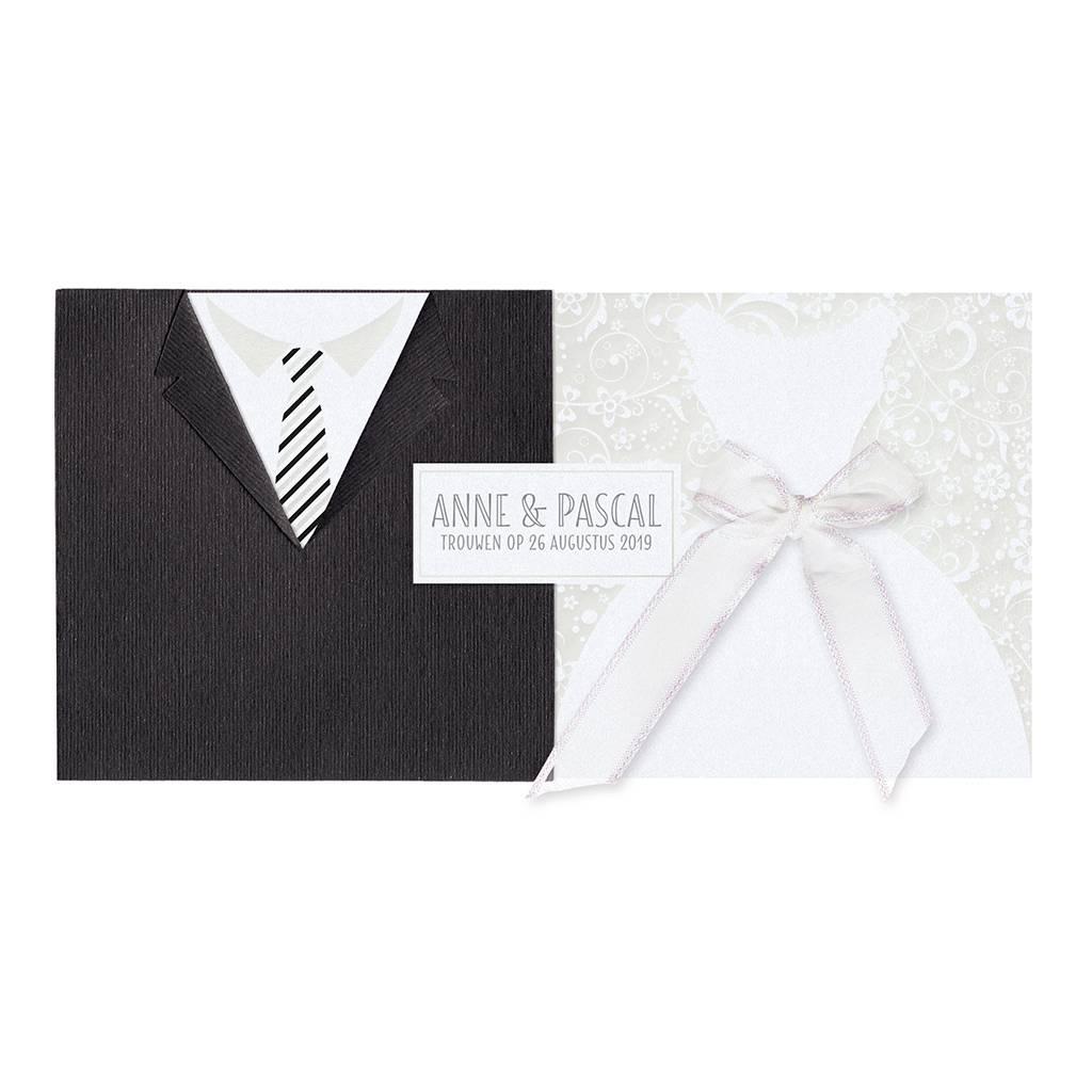 Belarto Bohemian Wedding Trouwkaart uitschuifbaar met jurk & pak en bling bling (727006)