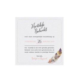 Belarto Bohemian Wedding Bedankkaart bij trouwkaart in 'Bohemian Style' met veermotief en leder koordje