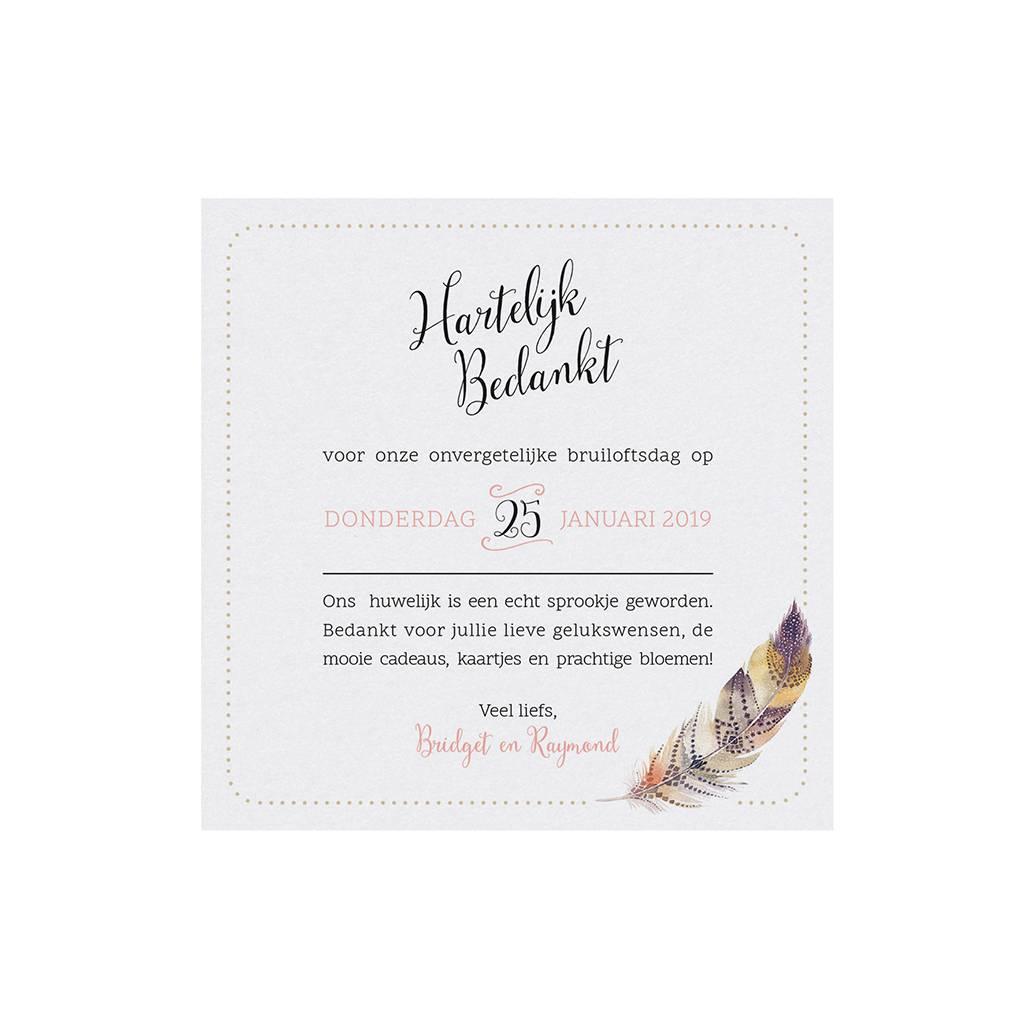 Belarto Bohemian Wedding Bedankkaart bij trouwkaart in 'Bohemian Style' met veermotief en leder koordje (727505)