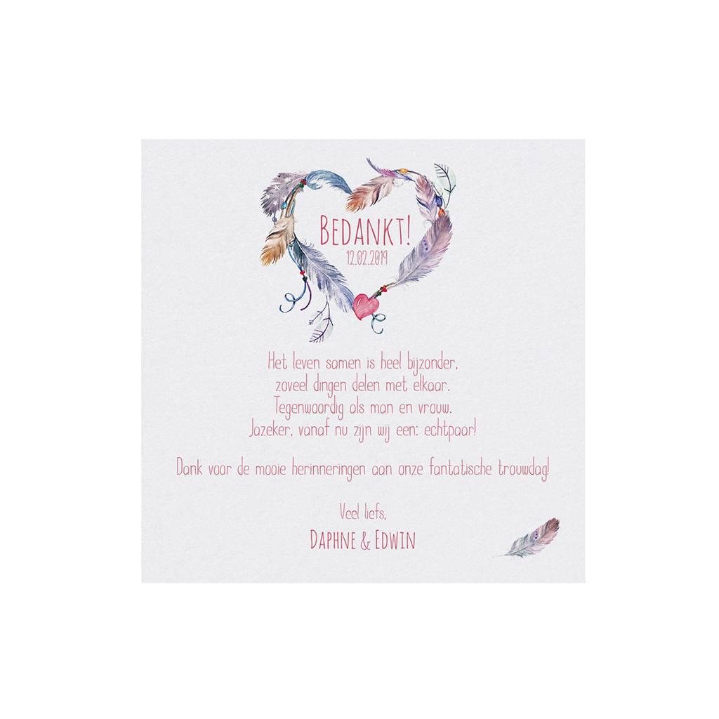 Belarto Bohemian Wedding Bedankkaart bij trouwkaart in 'Bohemian Style' met echt veertje en bedeltje (727504)