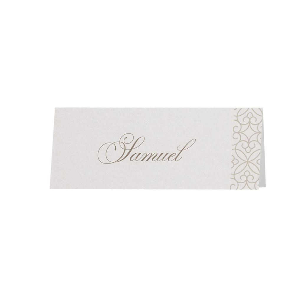 Belarto Bohemian Wedding Tafelkaartje bij trouwkaart met voelbaar patroon en veertje (727728)