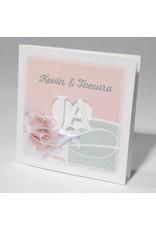 Familycards-Deel je Geluk Trouwkaart met romantisch wit strikje op roze (621699)
