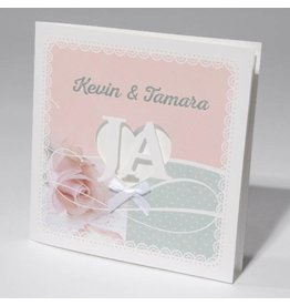 Familycards-Deel je Geluk Trouwkaart met romantisch wit strikje op roze