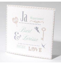 Familycards-Deel je Geluk Trouwkaart met sleutel en ornamenten