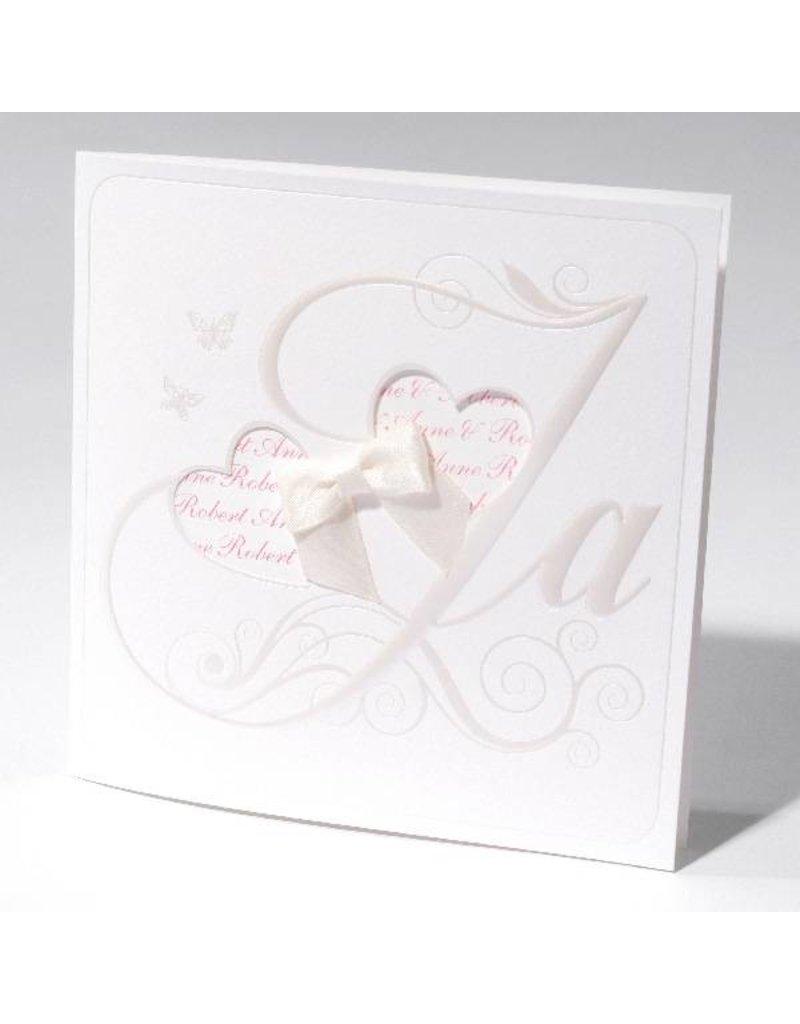 Familycards-Deel je Geluk Trouwkaart met strik en jullie namen in een hart (621680)