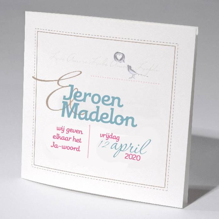 Familycards-Deel je Geluk Trouwkaart vogel met hartje (621696)