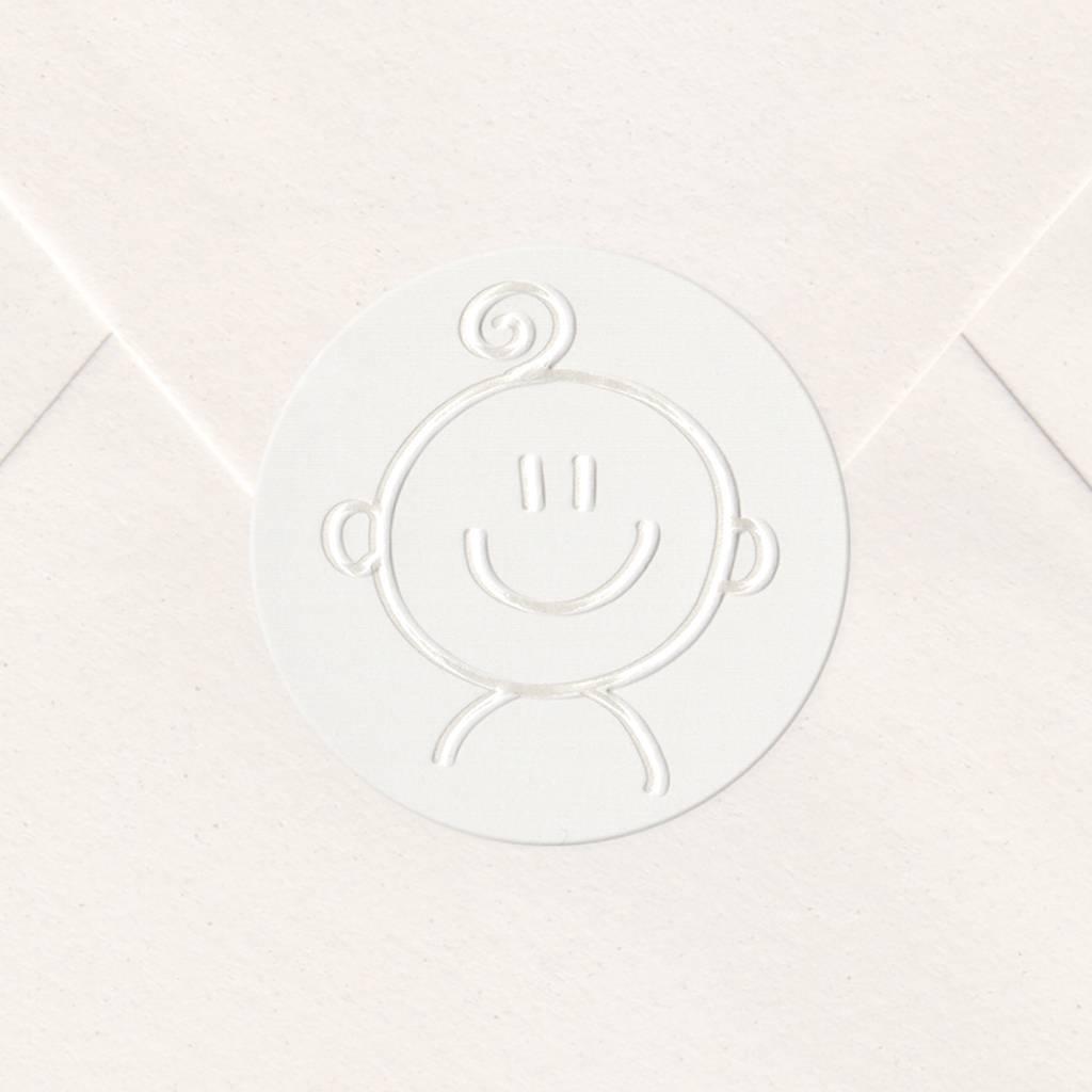 Sluitzegel Wit met blije baby (715152P)