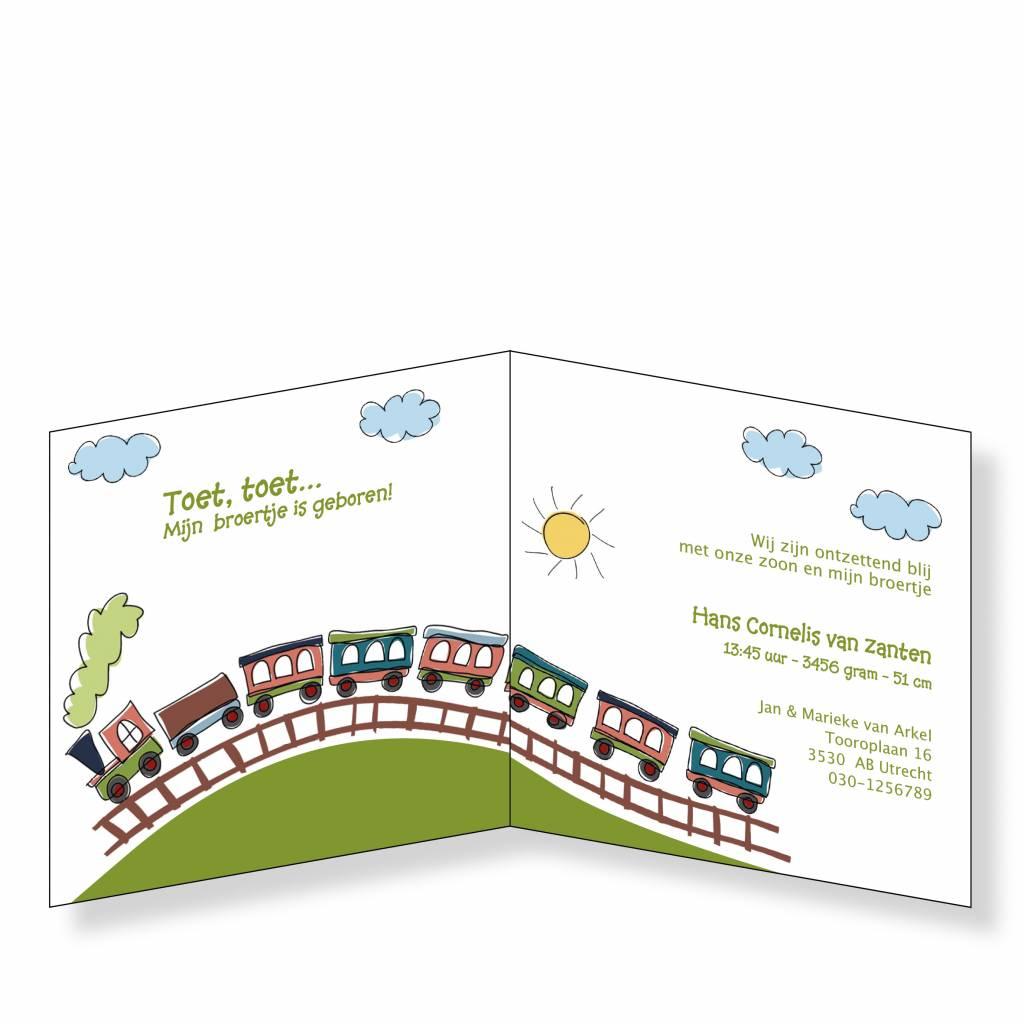 Mare Geboortekaartje met vrolijk treintje op zwaar papier (14-030-A)