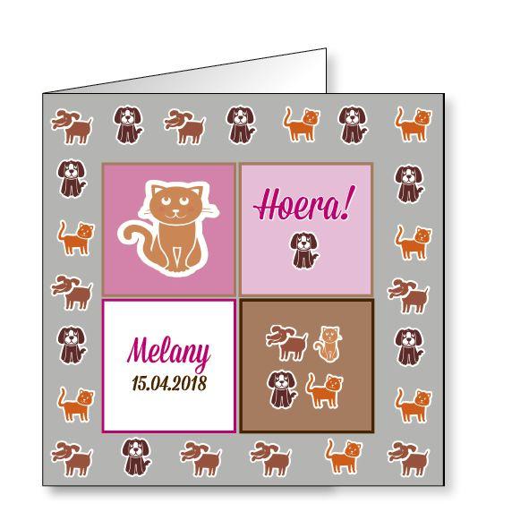 Mare Geboortekaartje hondjes en katjes op zwaar papier (14-041-A)