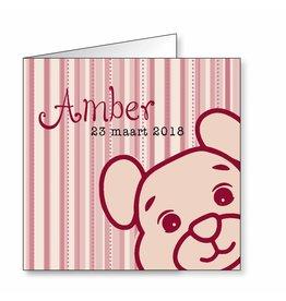 Mare Geboortekaartje met beertje in roze op zwaar papier