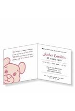 Mare Geboortekaartje met beertje in roze op zwaar papier (14-051-A)