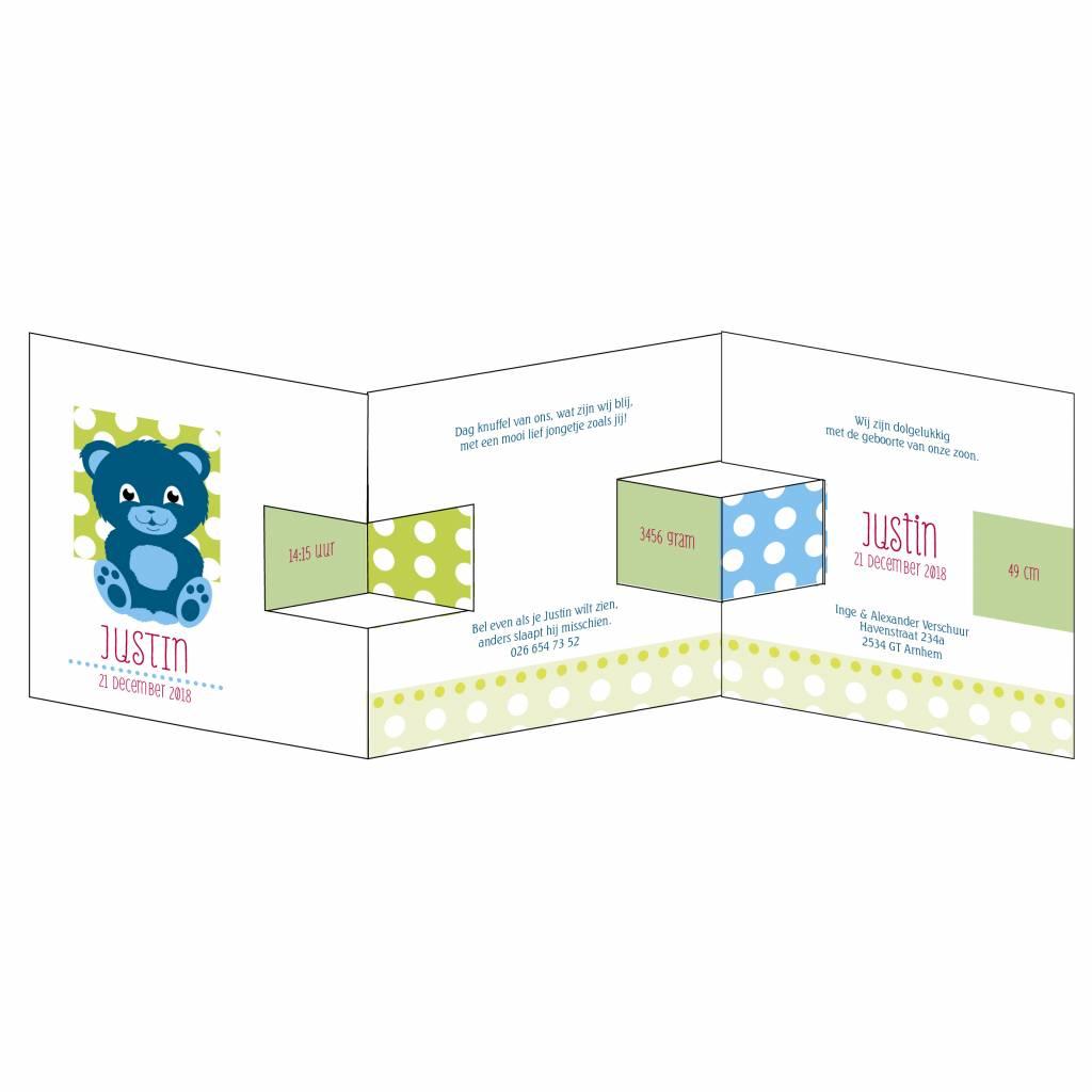 Mare Geboortekaartje met helderblauw beertje en confetti (14-052-C)