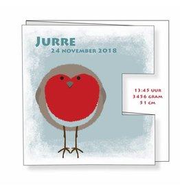 Mare Geboortekaartje in drieluik met vogeltje met rood hartje in pop-out