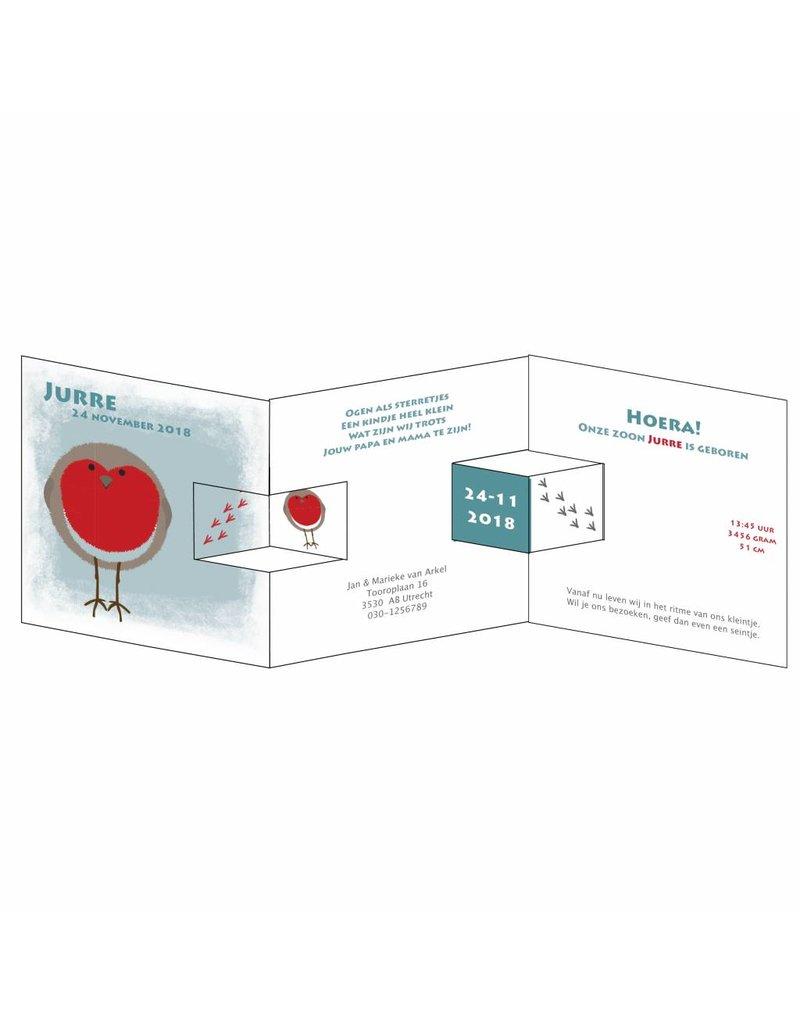 Mare Geboortekaartje in drieluik met vogeltje met rood hartje in pop-out (14-010-C)