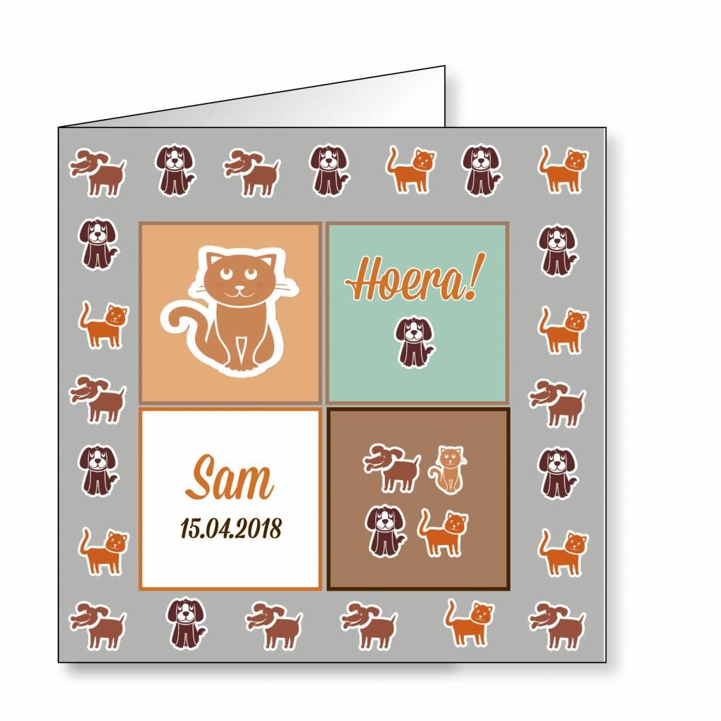 Mare Geboortekaartje hondjes en katjes in mintgroen (14-040-A)