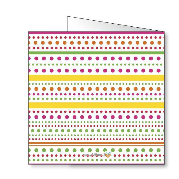 Mare Geboortekaartje met vrolijk confetti op zwaar papier  (14-063-A)
