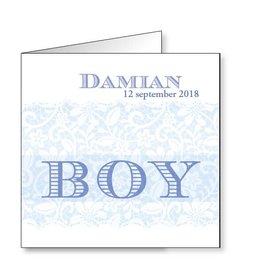 Mare Geboortekaartje met romantische opdruk in blauw