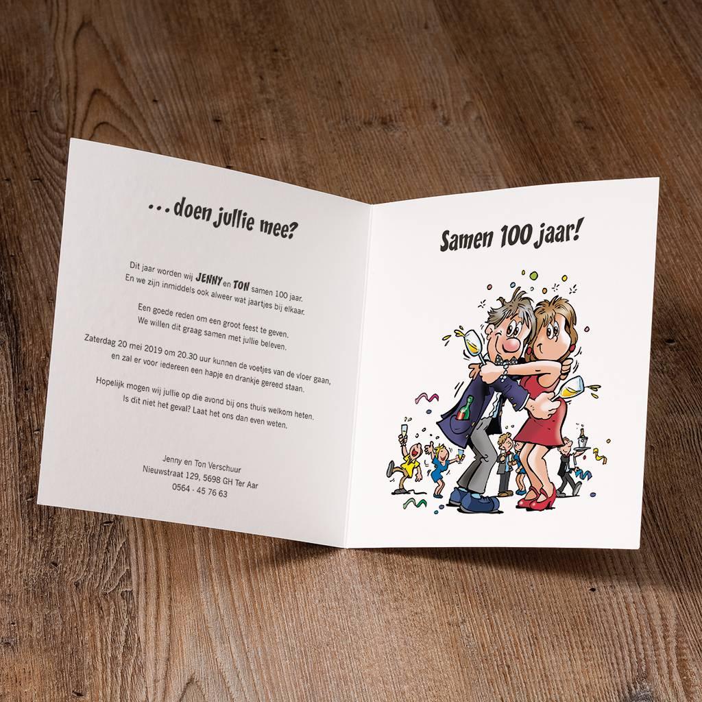 Belarto Jubileum Uitnodiging HAVE FUN cartoon man en vrouw met geheven glas (786015)