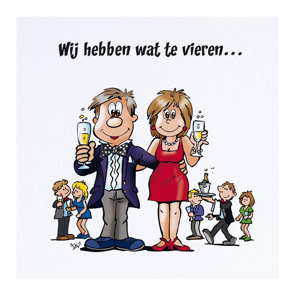 Belarto Jubileum 2016 Uitnodiging HAVE FUN cartoon man en vrouw met geheven glas (786015)
