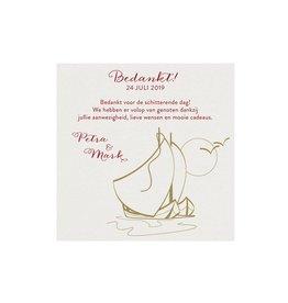 Belarto Jubileum 2016 Save The Date of bedankkaart classic met zeilbootjes, maan en vogels