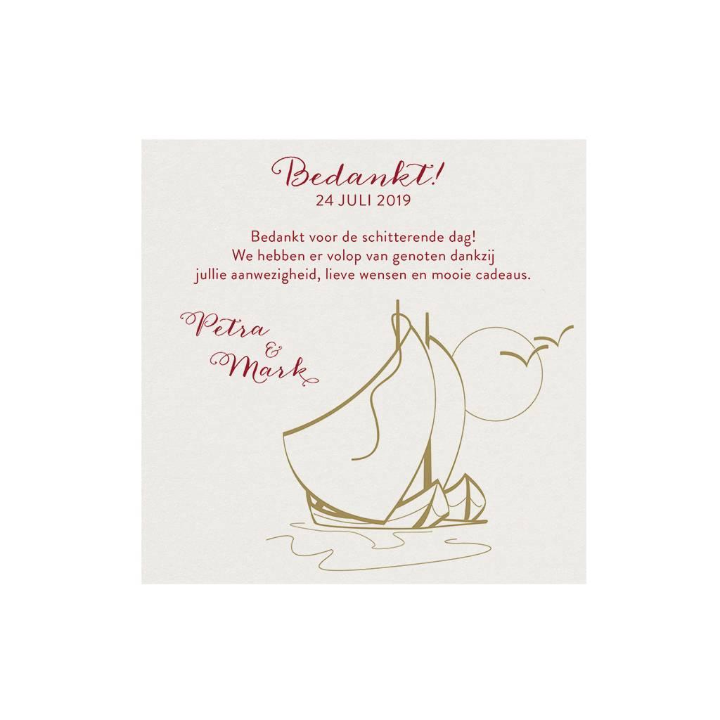 Belarto Jubileum 2016 Save The Date of bedankkaart classic met zeilbootjes, maan en vogels (786509)