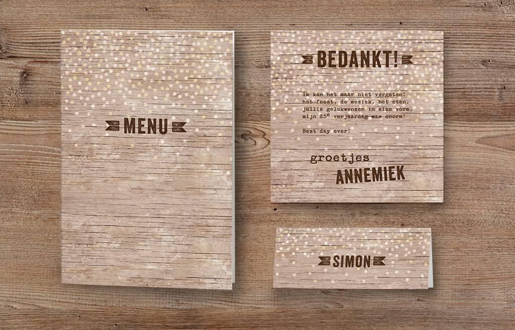 Belarto Jubileum 2016 Save The Date kaart of bedankkaart CELEBRATE in steigerhout (786575)