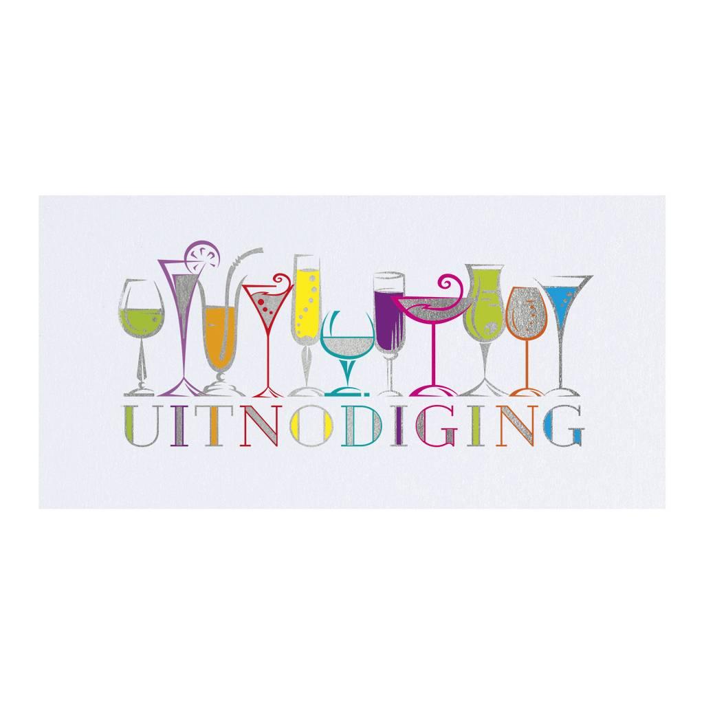 Belarto Jubileum 2016 Uitnodiging CELEBRATE met kleurige rij van drankjes (786102)