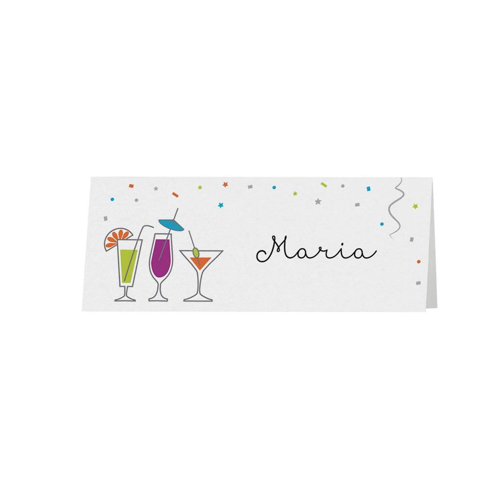 Belarto Jubileum Tafelkaart bubbels met vrolijke kleuren en drankjes (786772)