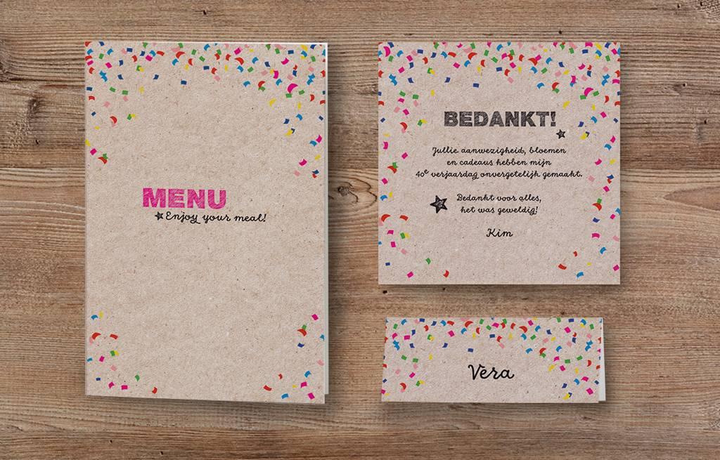 Belarto Jubileum 2016 Menukaart of bedankkaart CELEBRATE confetti (786675)