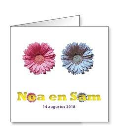 Mare Geboortekaartje voor tweeling met kleurige bloemen