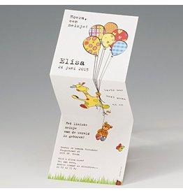 Geboortekaart in drieluik met giraf en ballonnen