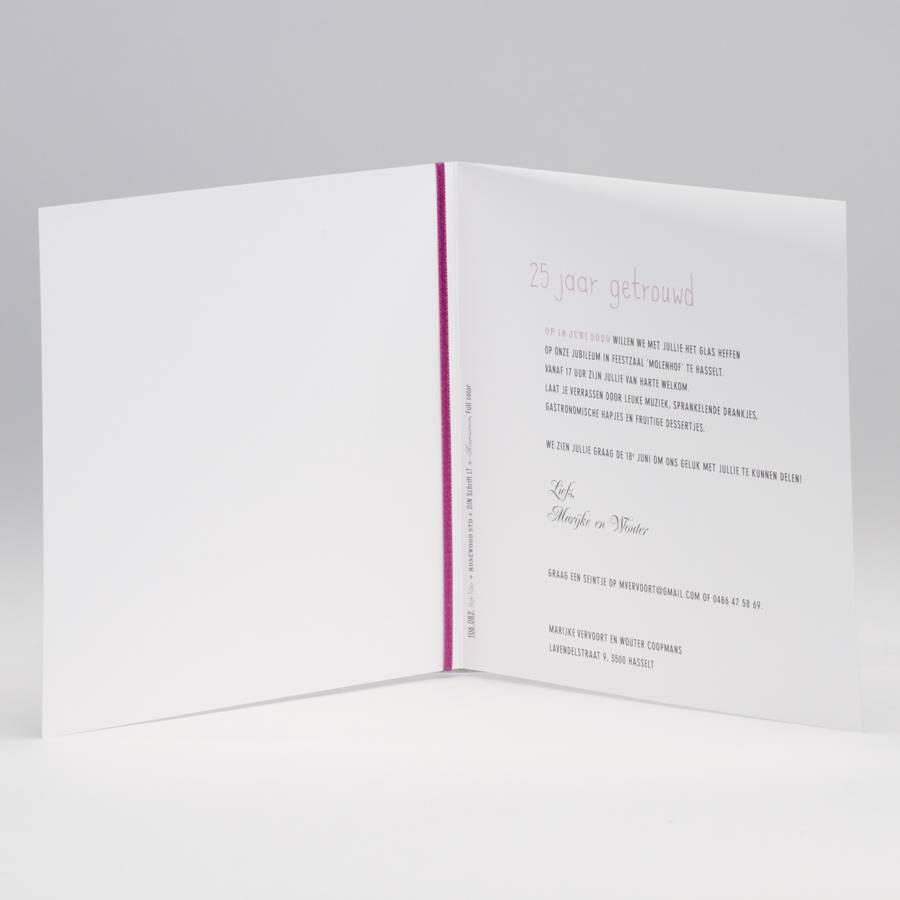 Buromac La Vie en Rose Vierkante blanco jubileumkaart met bordeaux lint en tags (106.082JUB)