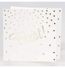 Buromac La Vie en Rose Jubileumkaart Drieluik FEEST met confetti in goudfolie