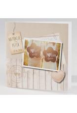 Buromac La Vie en Rose Trouwkaart met eigen foto, jute en steigerhout (106137)