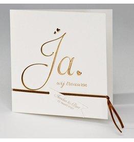 Buromac La Vie en Rose Vierkante trouwkaart met koperfolie