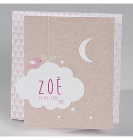 Buromac Baby Folly Geboortekaart - drieluik fotokaart met kraftlook en wolkje, roze