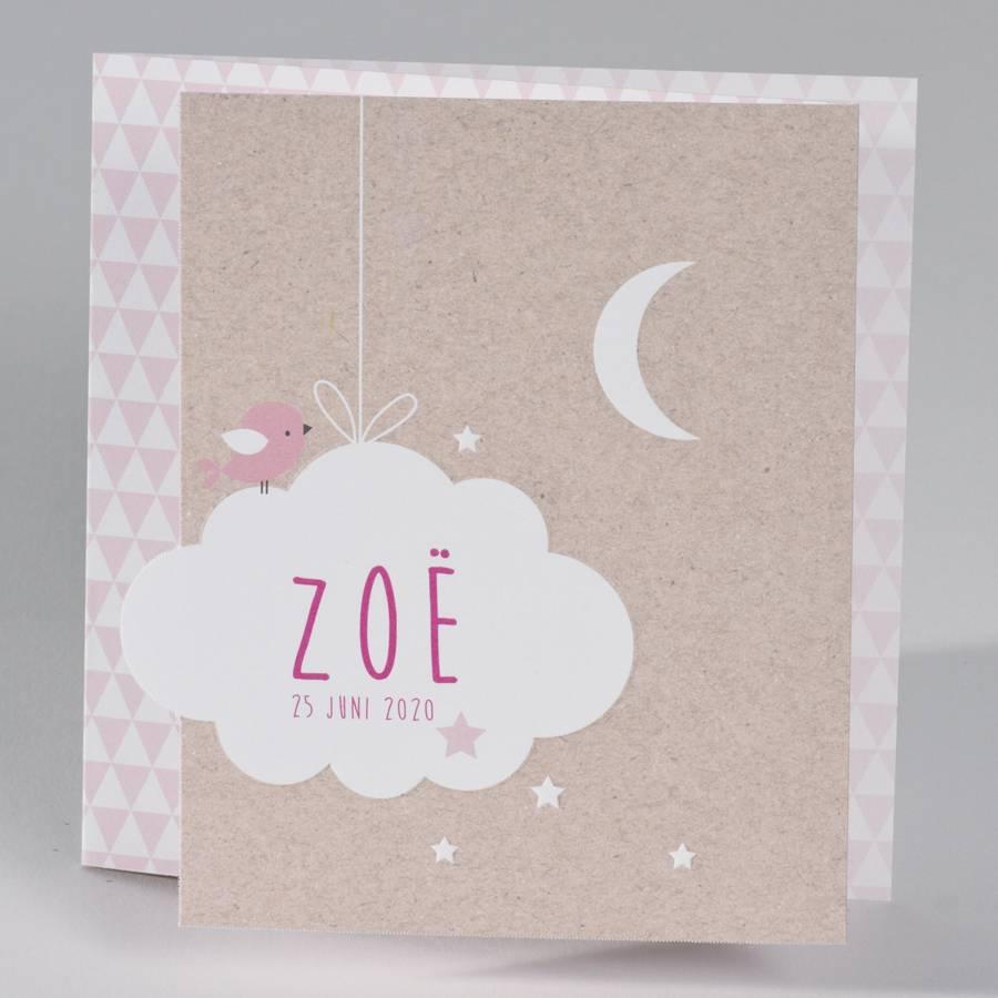 Buromac Baby Folly Geboortekaart - drieluik fotokaart met kraftlook en wolkje, roze (586075)