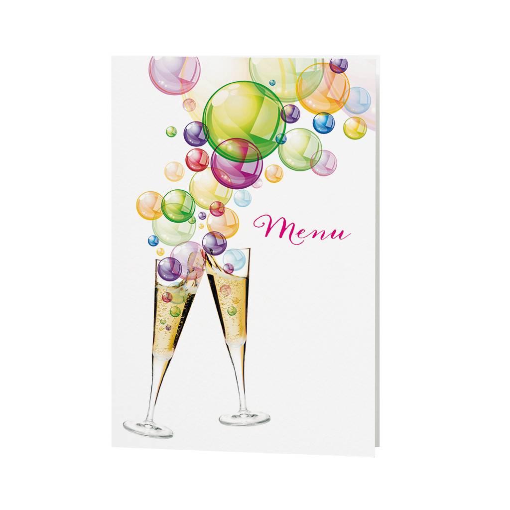 Belarto Jubileum Menukaart bubbels met vrolijke kleuren en drankjes (786672)