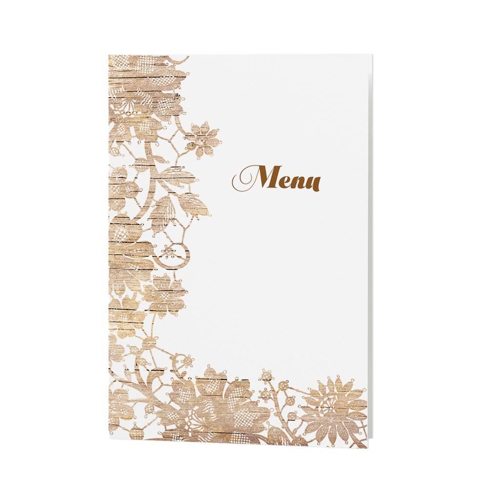 Belarto Jubileum Menukaart vintage houten bloemenpatroon (786653)