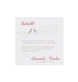 Belarto Bohemian Wedding Bedankkaart bij kaart met gouden vogeltjes en bankje