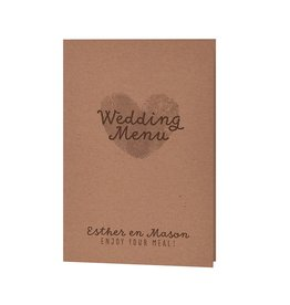Belarto Bohemian Wedding Menukaart bij trouwkaart 'Wij trouwen' met kraft-jasje voorzien van label en drie kleuren touw