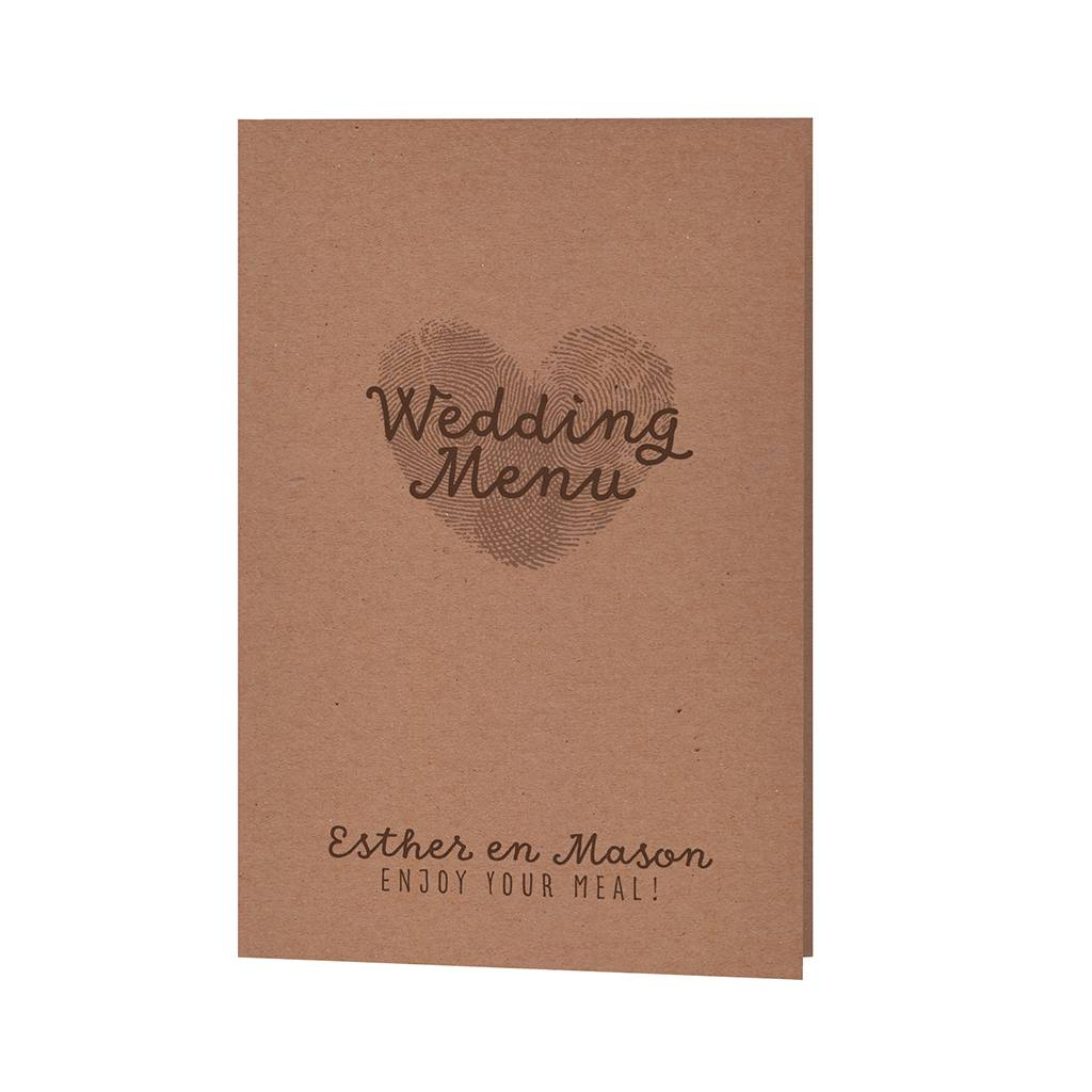 Belarto Bohemian Wedding Menukaart bij trouwkaart 'Wij trouwen' met kraft-jasje voorzien van label en drie kleuren touw (727607)