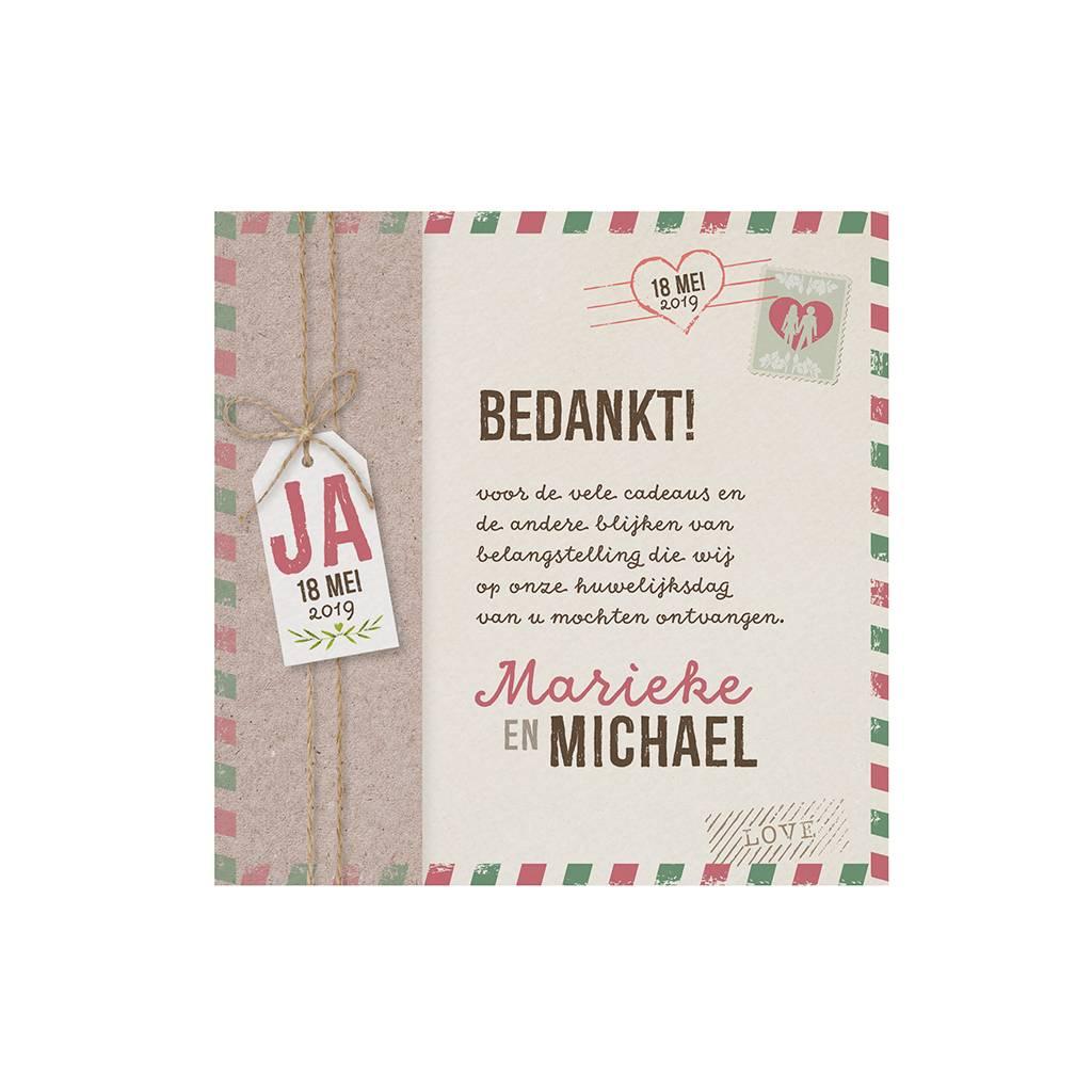 Belarto Bohemian Wedding Bedankkaart bij trouwkaart in hoesje met label en polaroidfoto (727513)